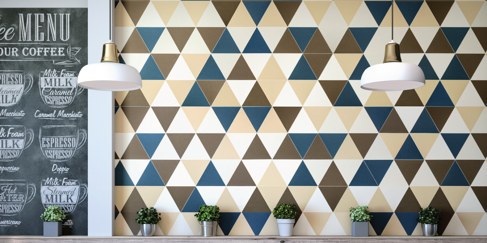 Audrey Lane Collection geometric tiles, Triangle pattern from Trinity Surfaces
