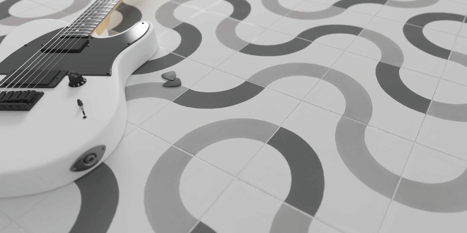 WOW Design Studio geometric tiles, Cement collection from Trinity Surfaces