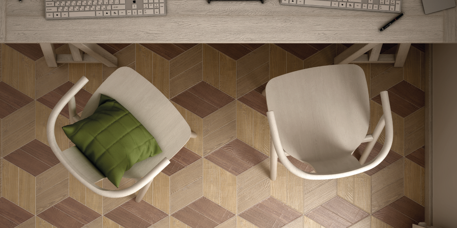 Trinity Tile geometric tiles, Wood Dimensions collection from Trinity Surfaces