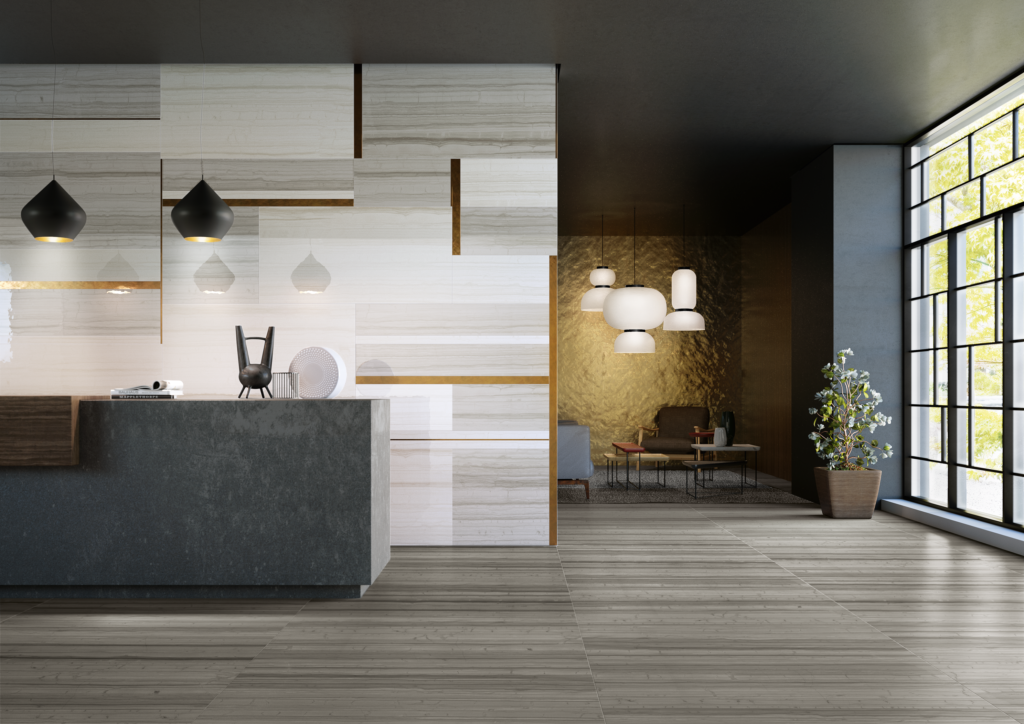 Hotel lobby, 2018 commercial flooring trends from Trinity Surfaces